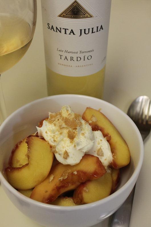 Raspberry-Glazed Peaches with Mascarpone Paired with Santa Julia Late Harvest Torrontes
