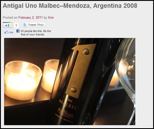 Antigal Uno Malbec–Mendoza, Argentina 2008
