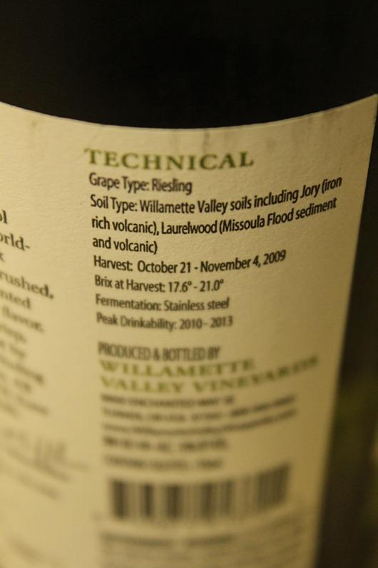 Willamette Valley Vineyards Riesling, Oregon.