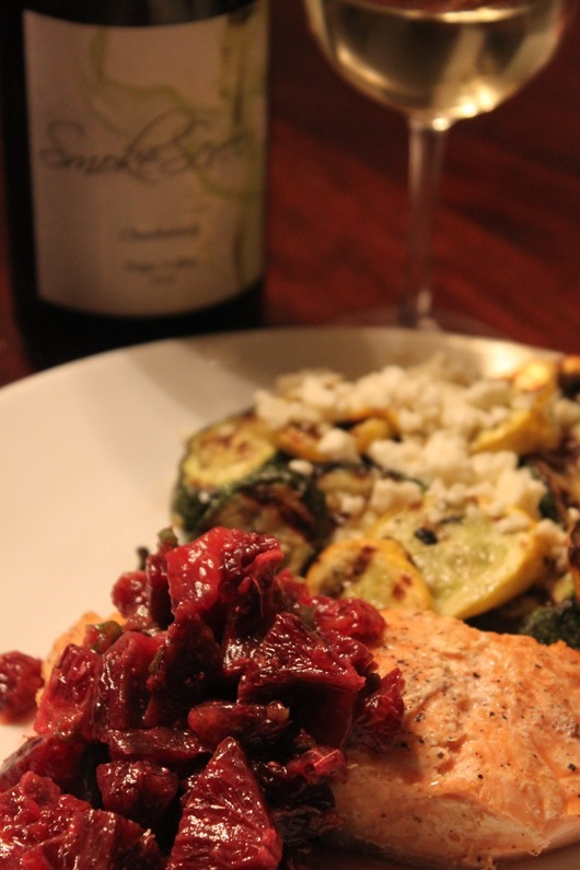 Grilled Salmon with Blood Orange Salsa Paired with Smokescreen Napa ...