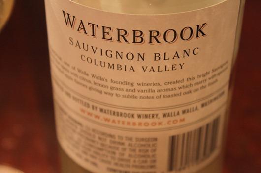 Waterbrook Sauvignon Blanc, Columbia Valley, Washington State.