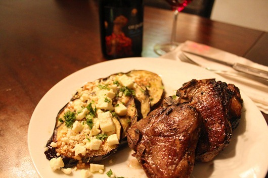 """Grilled Eggplant with Garlic-Cumin Vinaigrette, Feta & Herbs Paired with On Point """"Christinna's Cuvee"""" Pinot Noir, California."""